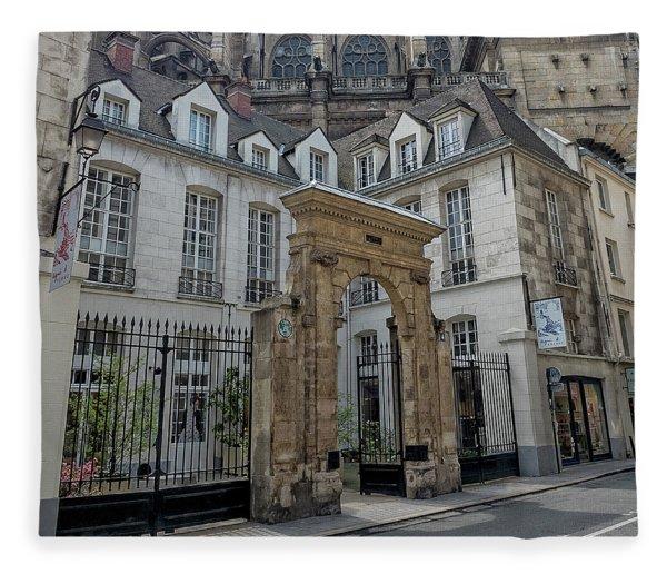 Facade On Rue Des Rosiers Fleece Blanket
