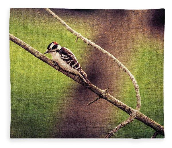 Faded Canvas Woodpecker Fleece Blanket