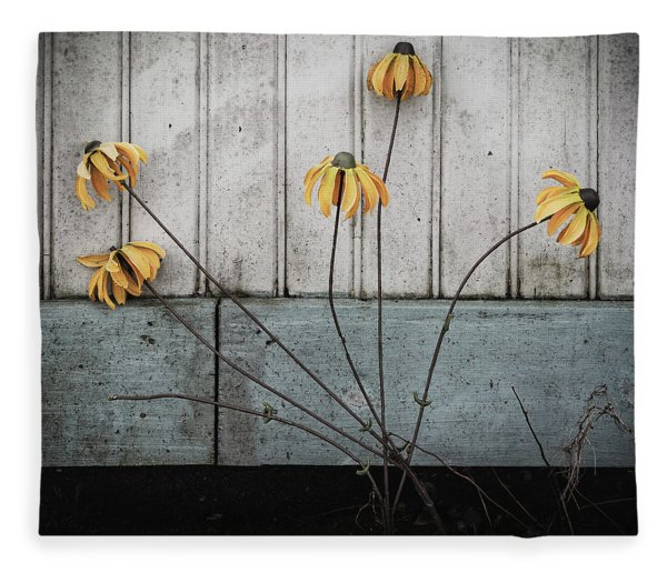 Fake Wilted Flowers Fleece Blanket