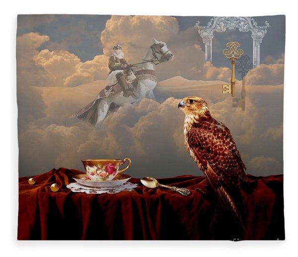 Falcon With Gold Key Fleece Blanket
