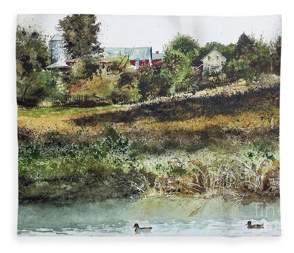 Farm Pond Fleece Blanket