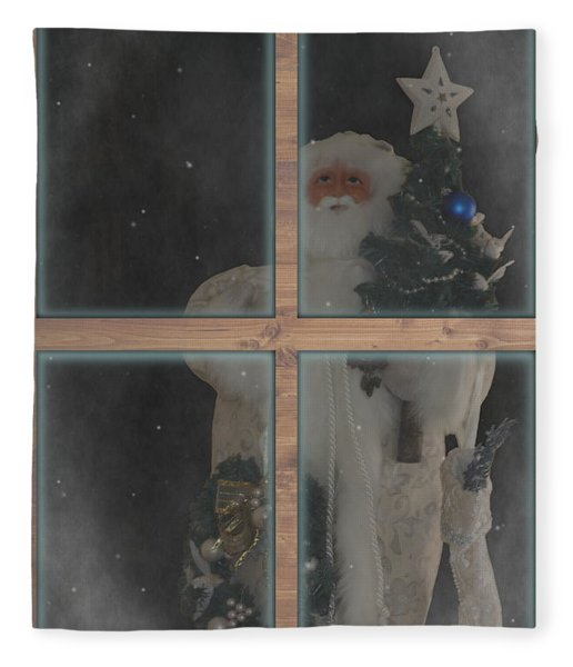 Father Christmas In Window Fleece Blanket