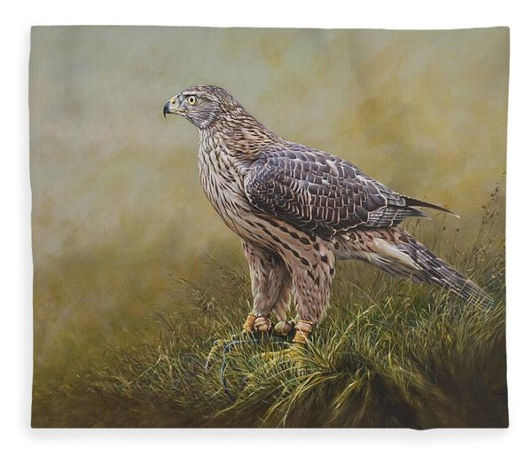 Fleece Blanket featuring the painting Female Goshawk Paintings by Alan M Hunt