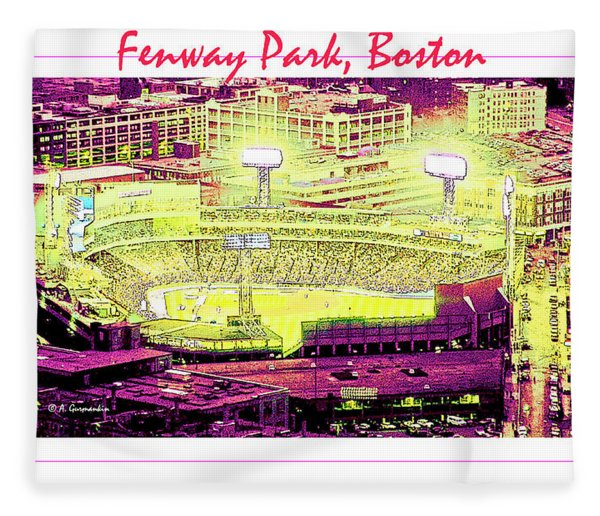 Fenway Park Boston Massachusetts Digital Art Fleece Blanket