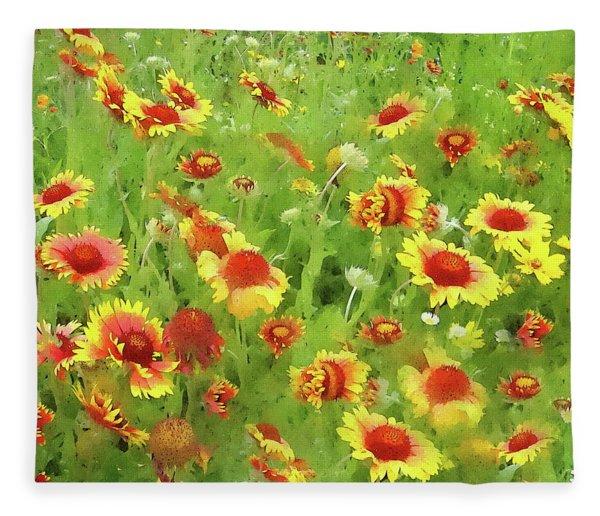 Fields Of Gold - Wildflowers Fleece Blanket