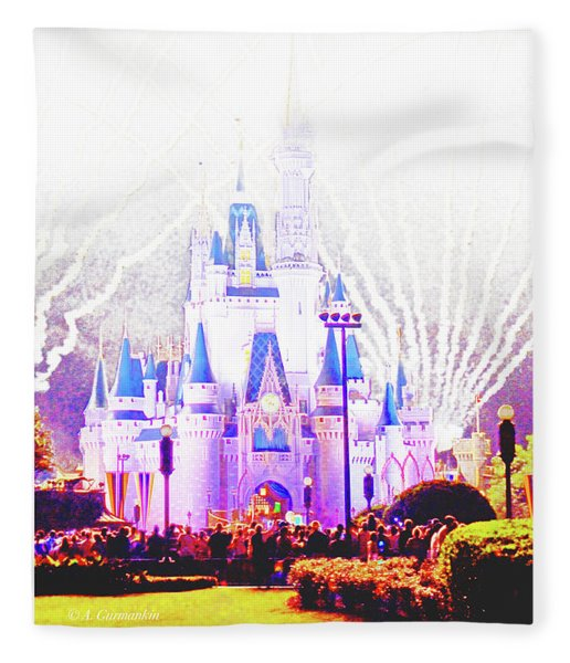 Fireworks, Cinderella's Castle, Magic Kingdom, Walt Disney World Fleece Blanket