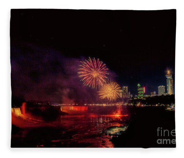 Fireworks Over The Falls. Fleece Blanket