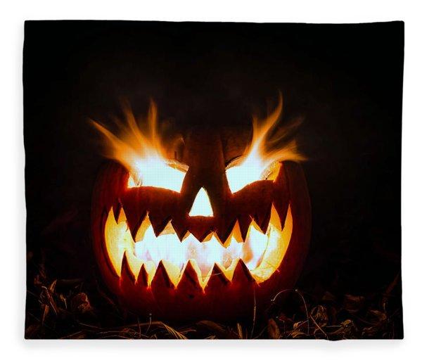 Flaming Pumpkin Fleece Blanket