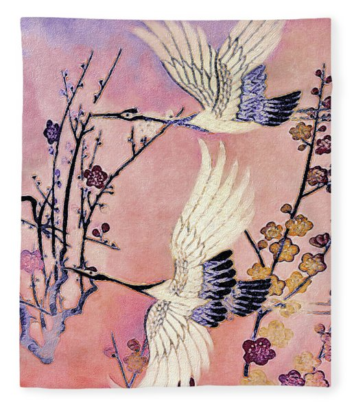 Fleece Blanket featuring the tapestry - textile Flight Of The Cranes - Kimono Series by Susan Maxwell Schmidt