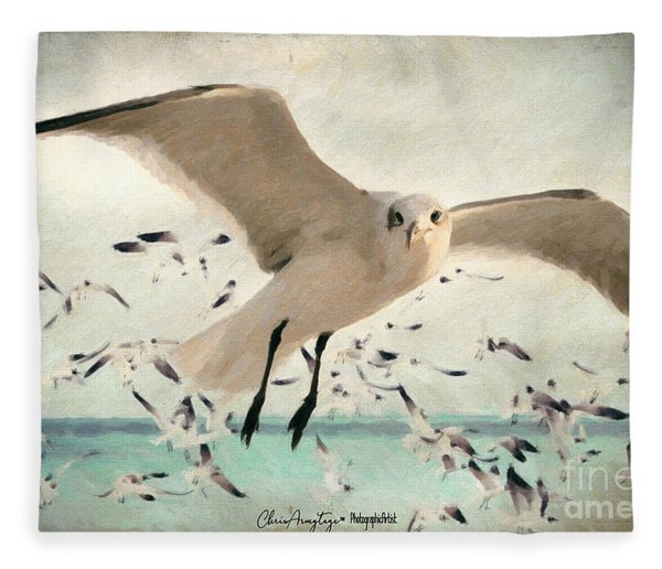 Flight Of The Gulls Fleece Blanket
