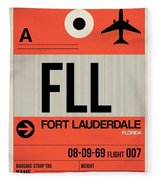 Fll Fort Lauderdale Luggage Tag I Fleece Blanket