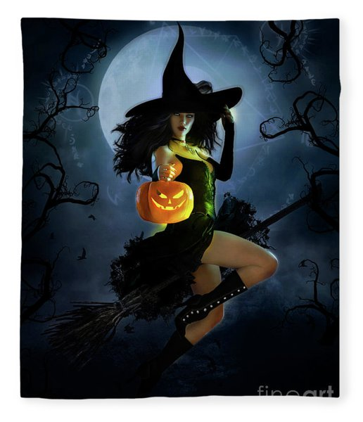 Fly By Night Halloween Fleece Blanket