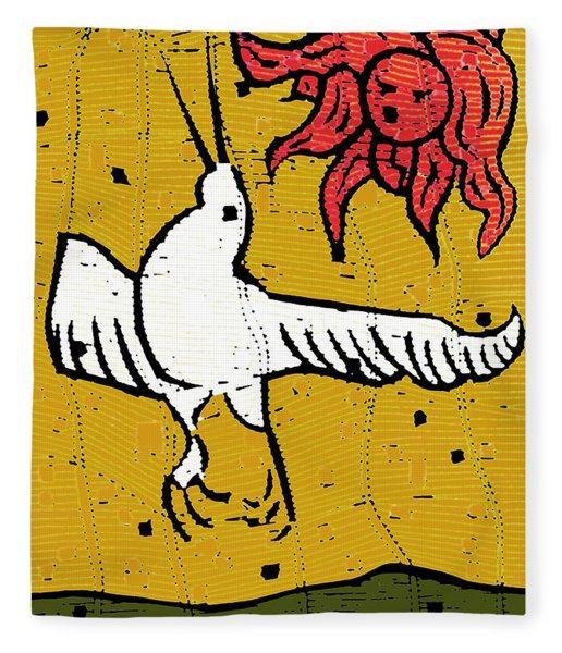 Flying Bird And Red Sun Face Fleece Blanket