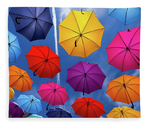 Flying Umbrellas I Fleece Blanket