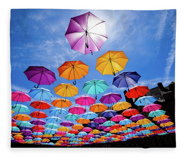 Flying Umbrellas II Fleece Blanket