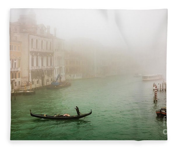 Foggy Morning On The Grand Canale, Venezia, Italy Fleece Blanket
