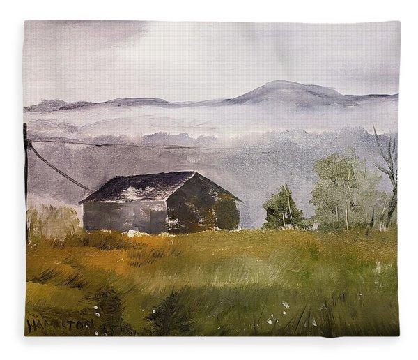 Foggy Tennessee Barn Fleece Blanket