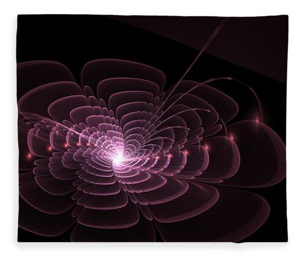 Fleece Blanket featuring the digital art Fractal Rose by Bee-Bee Deigner
