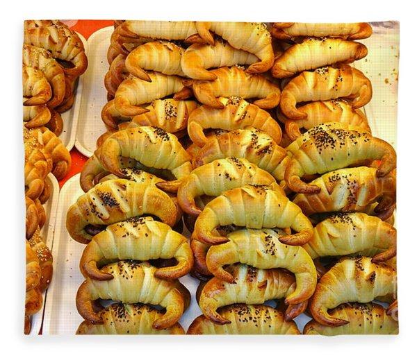 Freshly Baked Croissants Fleece Blanket