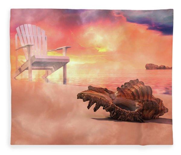 Friends By The Sea 3d Render Fleece Blanket