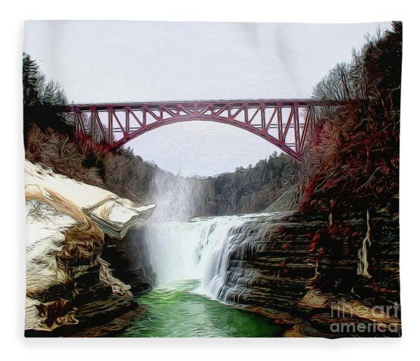 Frletchworth Railroad And Falls Fleece Blanket