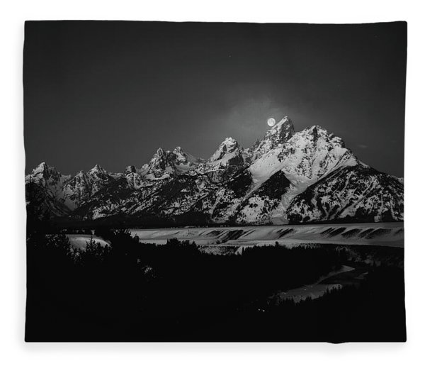 Fleece Blanket featuring the photograph Full Moon Sets In The Tetons by Raymond Salani III