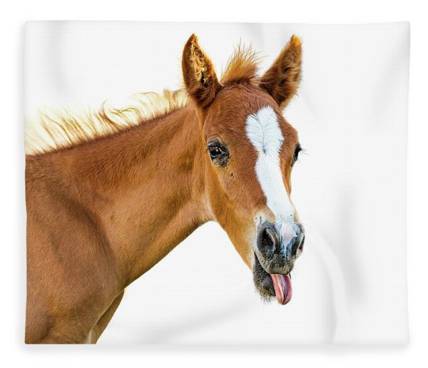 Funny Baby Horse Sticking Tongue Out Fleece Blanket