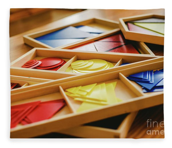 Geometric Material In Montessori Classroom For The Learning Of Children In Mathematics Area. Fleece Blanket