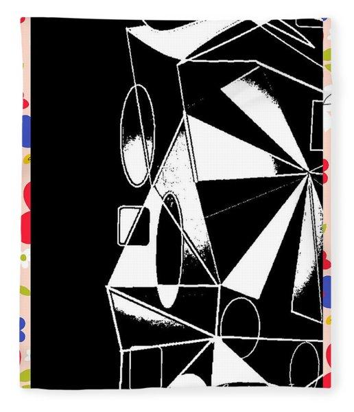 Geometric Shapes Blackened Fleece Blanket