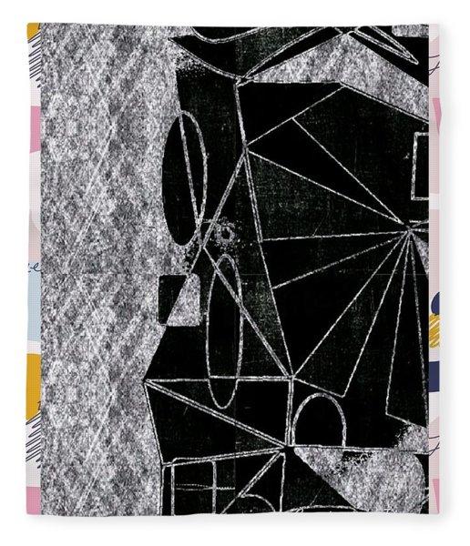 Geometric Shapes Chalk Fleece Blanket