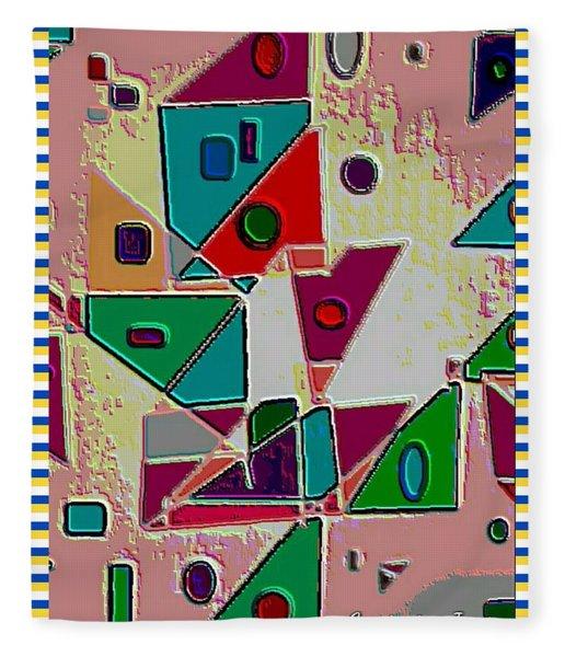 Geometric Shapes Matt Red Fleece Blanket