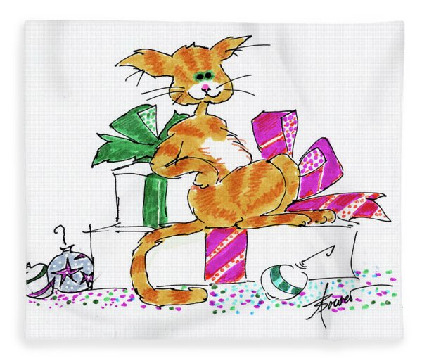 Ginger Cat's Christmas Fleece Blanket
