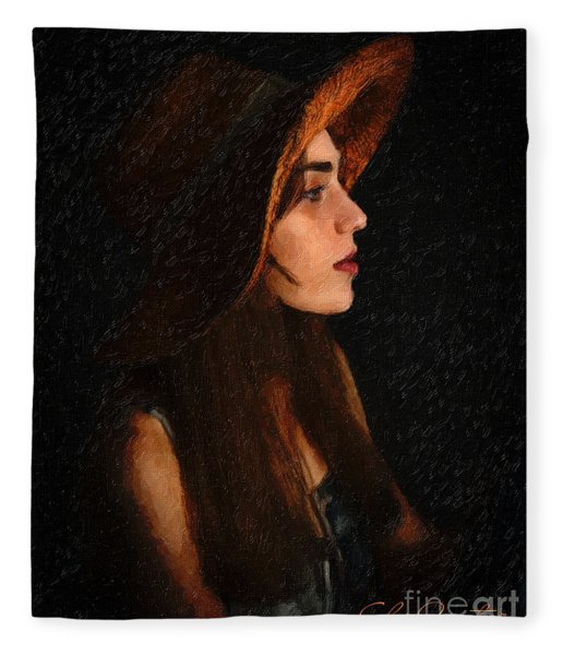 Girl In Hat Fleece Blanket