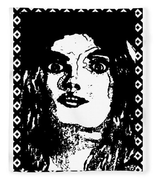 Girl Portrait Blackened Fleece Blanket