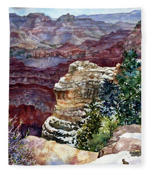 Grand Canyon Winter Day Fleece Blanket