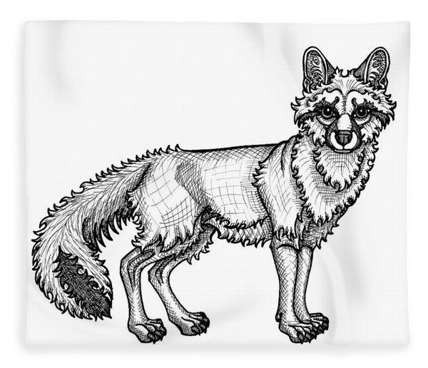 Fleece Blanket featuring the drawing Gray Fox by Amy E Fraser