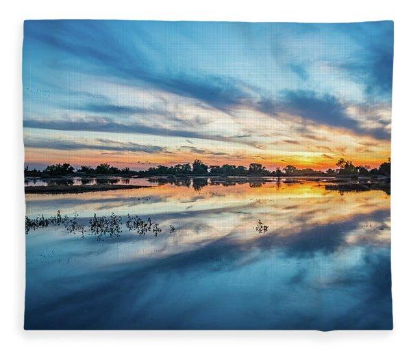 Gray Lodge Sunset Fleece Blanket