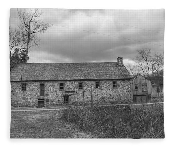 Grey Skies Over Fieldstone - Waterloo Village Fleece Blanket