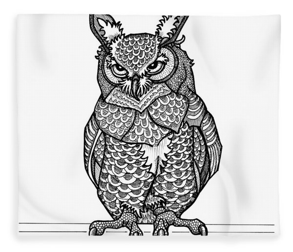 Fleece Blanket featuring the drawing Great Horned Owl by Amy E Fraser