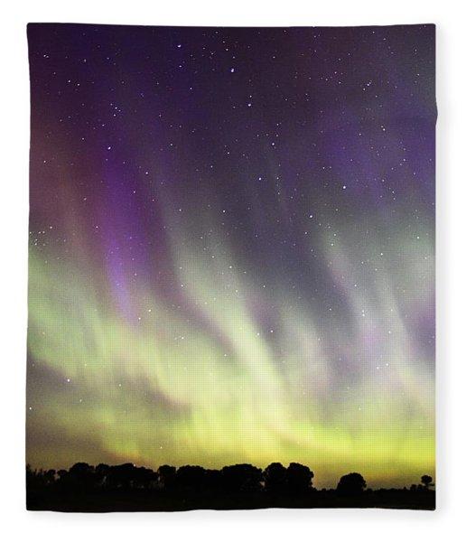 Green And Purple Fire In The Sky Fleece Blanket