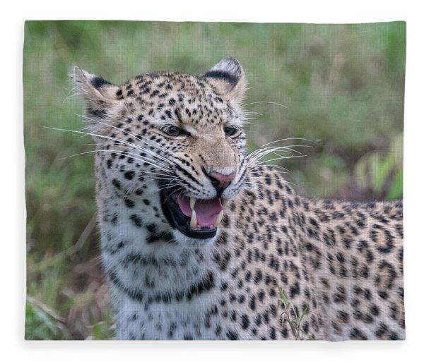 Grimacing Leopard Fleece Blanket