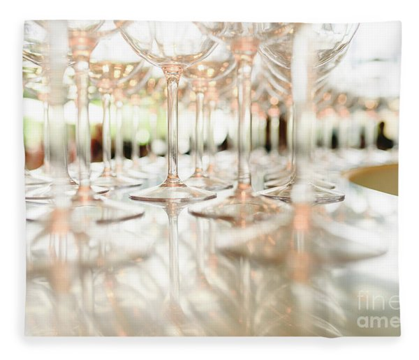 Group Of Empty Transparent Glasses Ready For A Party In A Bar. Fleece Blanket