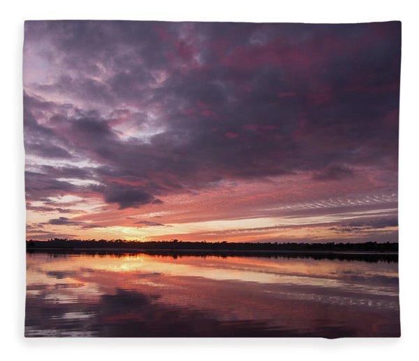 Halifax River Sunset Fleece Blanket