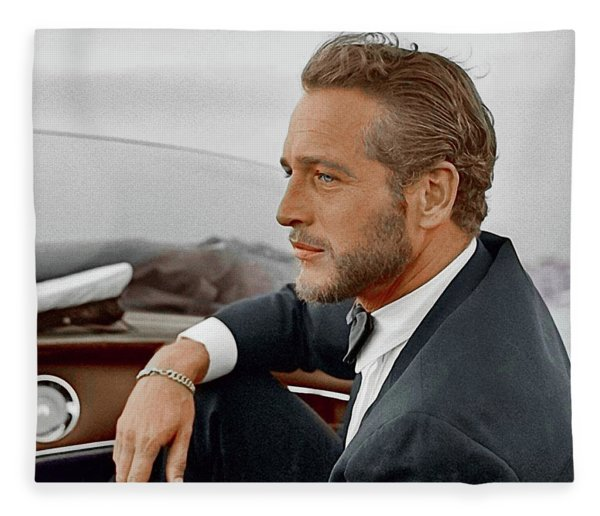 Hand Colored Picture Of Paul Newman Fleece Blanket