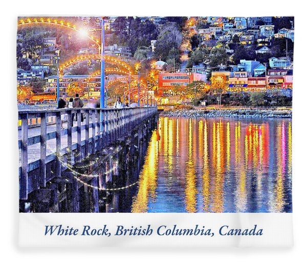 Harbor At Night White Rock British Columbia Canada Fleece Blanket