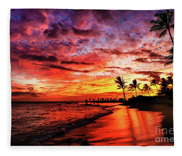 Hawaiian Sunset Fleece Blanket