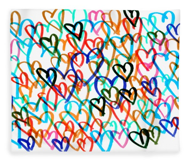 Fleece Blanket featuring the drawing Hearts by Bee-Bee Deigner