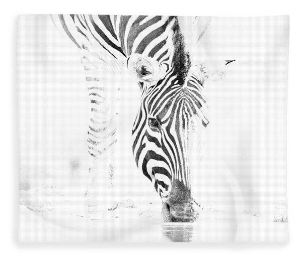 High Key Zebra Drinking Fleece Blanket