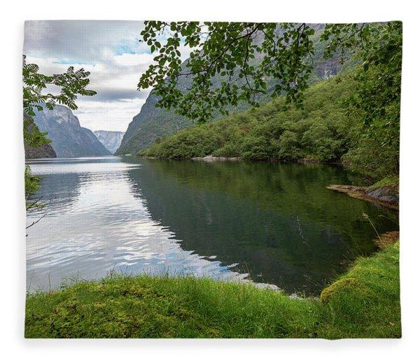 Hiking The Old Postal Road By The Naeroyfjord, Norway Fleece Blanket