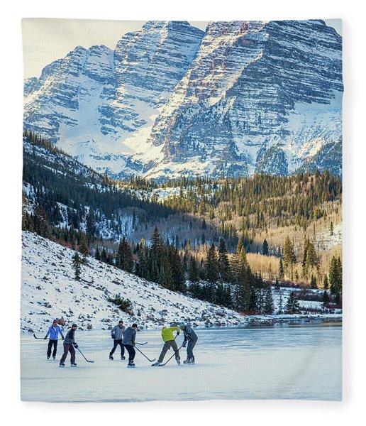 Hockey On Maroon Lake Maroon Bells Aspen Colorado Fleece Blanket